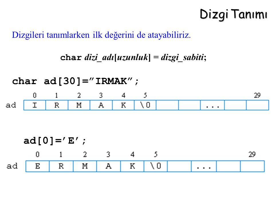 Dizgi Tanımı char ad[30]= IRMAK ; ad[0]='E';